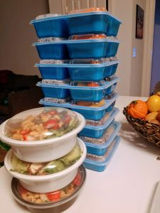 stacked meal prep containers